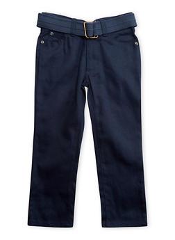 Girls 4-7 Denim Pants with Canvas Belt - 3701054730021
