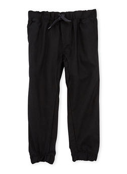 Boys 4-7 Twill Joggers with Drawstring Waist - 3701061950001