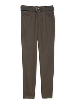 Boys 8-16 Belted Twill Pants with Embroidered Pockets - 3702054730021