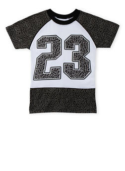 Boys 4-7 Patterned T-Shirt with 23 Graphic - 3703054730111