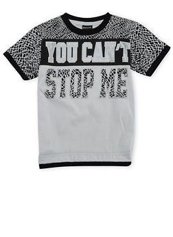 Boys 4-7 Short Sleeve T-Shirt with You Cant Stop Me Graphic - 3703054730115