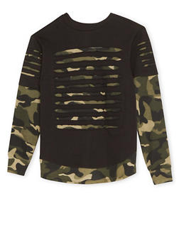 Boys 8-18 Layered Camo Top with Shredding - 3704054730120