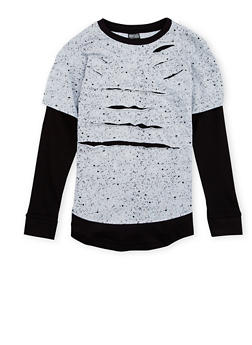 Boys 8-18 Layered Top with Shredding - 3704054730121