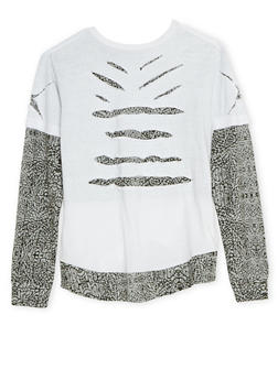 Boys 8-18 Layered Top with Shredding - 3704054730122