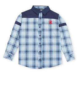 Boys 8-20 BHPC Plaid Button Up Shirt - 3704061950126