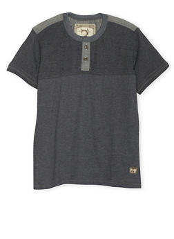 Boys 8-18 Henley Tee with Chambray Trim - 3704063370025