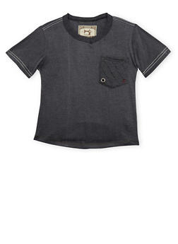 Boys 8-20 V Neck T Shirt with Quilted Accents - 3704063370027