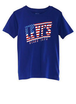 Boys 8-20 Levis Royal Blue Graphic Short Sleeve Tee with USA Logo Print - 3704070340111