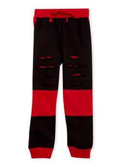 Boys 4-7 Shredded Fleece Joggers with Color Block Print - 3706054730026