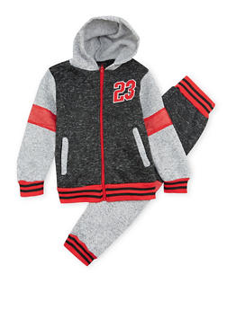 Boys 4-7 Marled Knit Hoodie with Joggers Set - 3715054730036