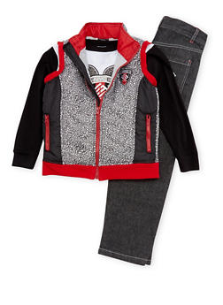 Boys 4-7 Enyce Puffer Vest with Graphic Top and Jeans Set - 3715054730051