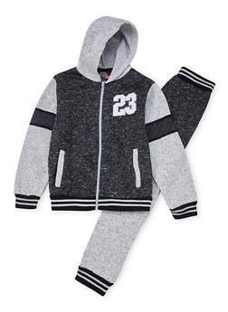 Boys 8-18 Marled Knit Hoodie and Joggers with Mesh Panels - 3716054730026