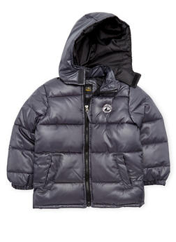 Boys 4-7 Puffer Coat with Attached Hood - 3717071520026