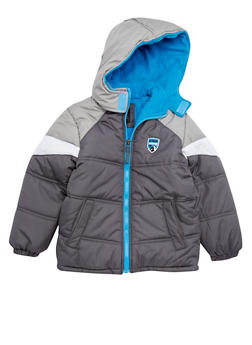Boys 4-7 Puffer Coat with Attached Hood - 3717071520028