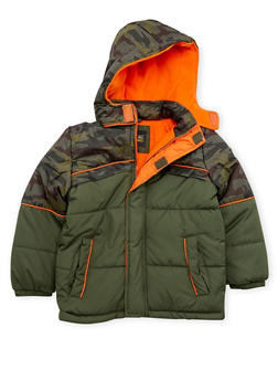 Boys 4-7 Camo Puffer Coat with Attached Hood - 3717071520030