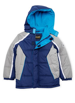 Boys 4-7 Color Block Puffer Coat with Hood - 3717071520032