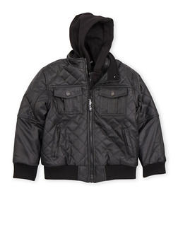 Boys 8-18 Quilted Faux Leather Jacket with Knit Hood - 3718068320070