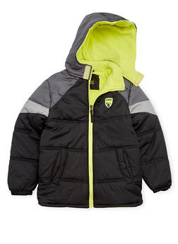 Boys 8-18 Puffer Coat with Attached Hood - 3718071520027