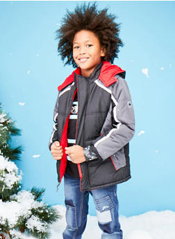 Boys 8-18 Color Block Puffer Coat with Hood - 3718071520031