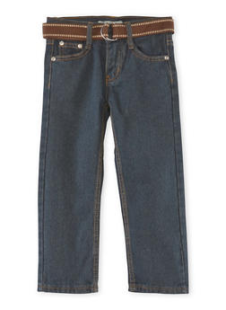 Boys 4-7 Belted Jeans with Embroidered Pockets - 3719072480003