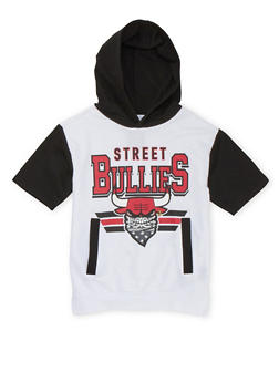 Boys 8-20 Graphic Short Sleeve Hoodie with Street Bullies Print - 3721072700001
