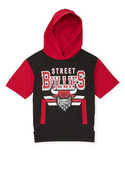 Boys 8-20 Short Sleeve Hoodie with Street Bullies Graphic - 3721072700002