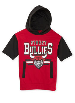 Boys 8-20 Short Sleeve Hoodie with Street Bullies Graphic - 3721072700003