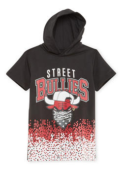Boys 8-20 Graphic Short Sleeve Hoodie with Street Bullies Print - 3721072700015