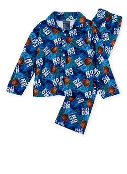 Boys 8-18 Printed Pajama Shirt and Pants Set - BLUE - 3730054730004