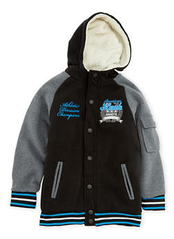 Boys 8-18 Hooded Varsity Jacket with Sherpa Lining - 3733060990111