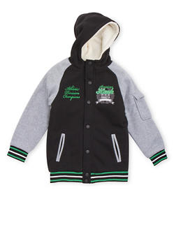 Boys 8-18 Hooded Varsity Jacket with Sherpa Lining - 3733060990112