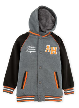 Boys 8-16 Fleece Hooded Bomber Jacket - 3733060990113