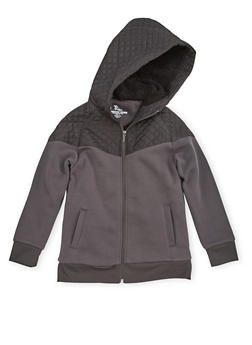 Boys 8-16 Zip Front Hoodie with Quilted Paneling - 3733060990114