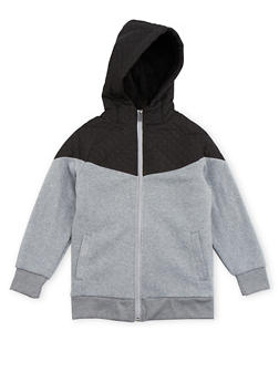 Boys 8-16 Fleece Hoodie with Quilted Paneling - 3733060990115