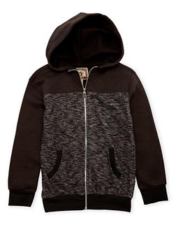 Boys 8-20 Zip Front Hoodie with Heathered Paneling - 3733063370030