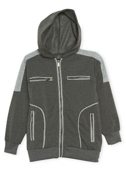 Boys 8-20 Zip Hoodie with Quilted Shoulders - 3733063370032
