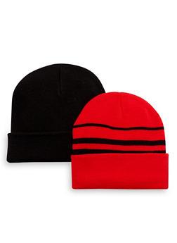 Boys Set of 2 Foldover Beanie Hats - 3734068060001