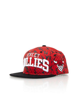 Street Bullies Snapback Hat with Embroidered Bull Accent - 3734073430008