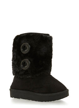 Girls Boots with Faux Shearling Paneling - 3736057260017