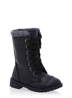 Girls Faux Leather Boots with Marled Knit Cuff - 3736057260025