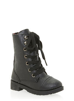 Girls 5-10 Faux Leather Combat Boots with Floral Lining - 3736057260028