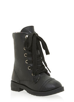 Girls Faux Leather Combat Boots with Floral Lining - 3736057260029