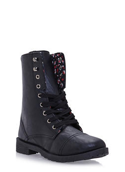 Girls Lace-Up Combat Boots in Faux Leather - 3736057260050