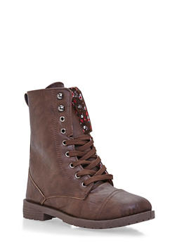Girls Lace-Up Combat Boots in Faux Leather - 3736057260052