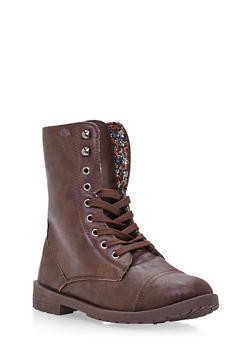 Girls Lace-Up Combat Boots in Faux Leather - 3736057260053
