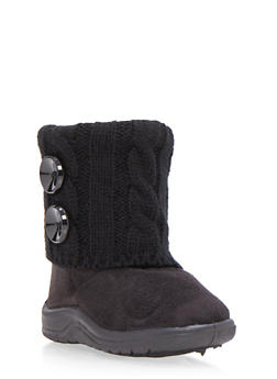 Girls Boots with Sweater Knit Cuff and Button Accents - 3736057260054