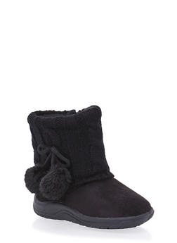 Girls Boots with Sweater Knit Cuff - 3736057260056