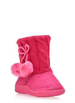 Girls Boots with Sweater Knit Cuffs and Pom Poms - 3736057260057