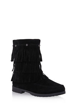 Girls Faux Suede Boots with Tiered Fringe - 3736057260058