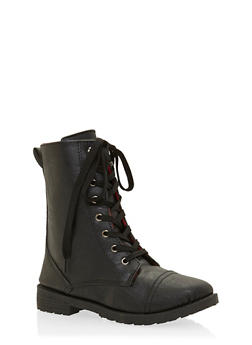 Girls Lace-Up Combat Boots with Buffalo Check Lining - 3736057260060